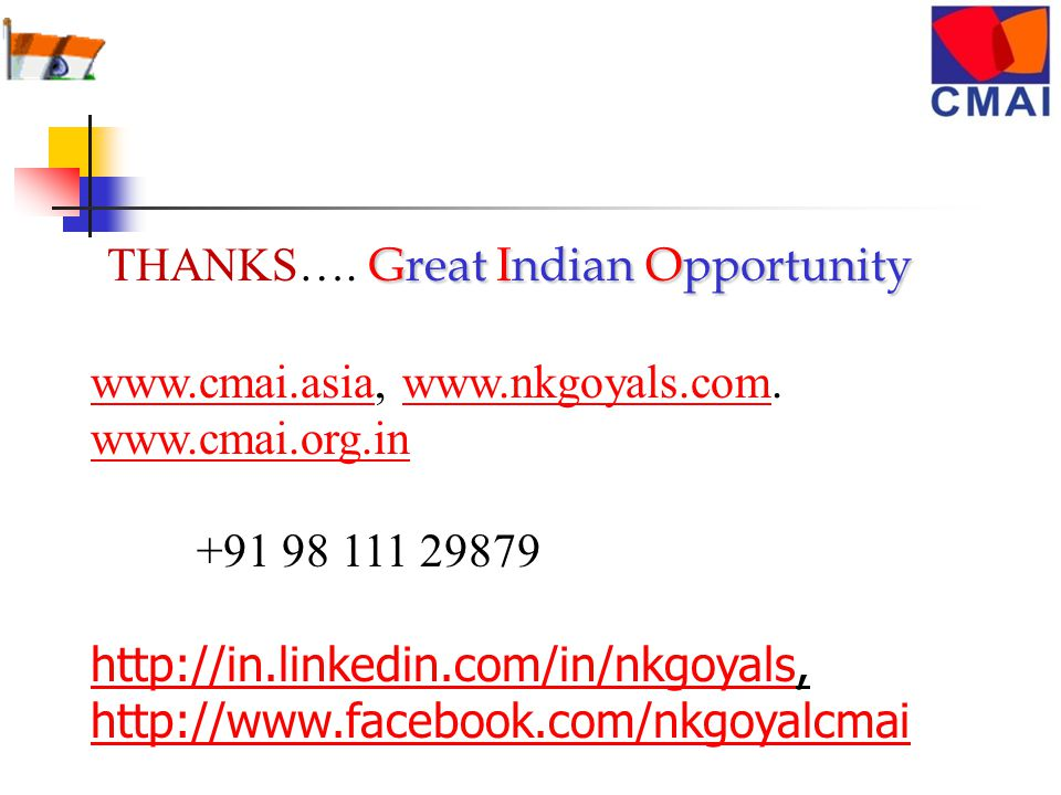 Great Indian Opportunity THANKS….