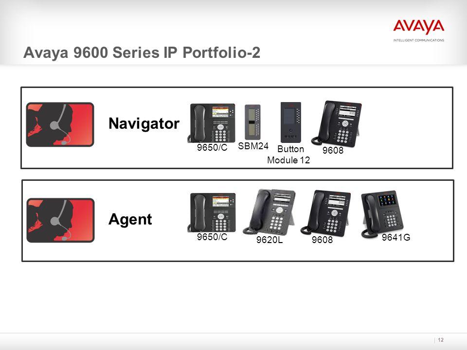 12 Navigator Avaya 9600 Series IP Portfolio-2 SBM24 9650/C 9608 Button Module 12 Agent 9650/C 9608 9620L 9641G
