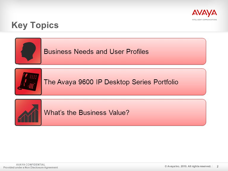 Key Topics AVAYA CONFIDENTIAL Provided under a Non Disclosure Agreement 2 © Avaya Inc.