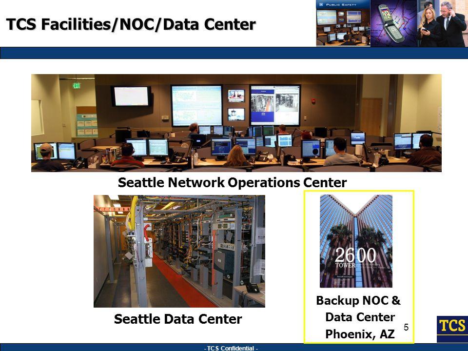 - TCS Confidential - 5 Seattle Network Operations Center Seattle Data Center Backup NOC & Data Center Phoenix, AZ TCS Facilities/NOC/Data Center