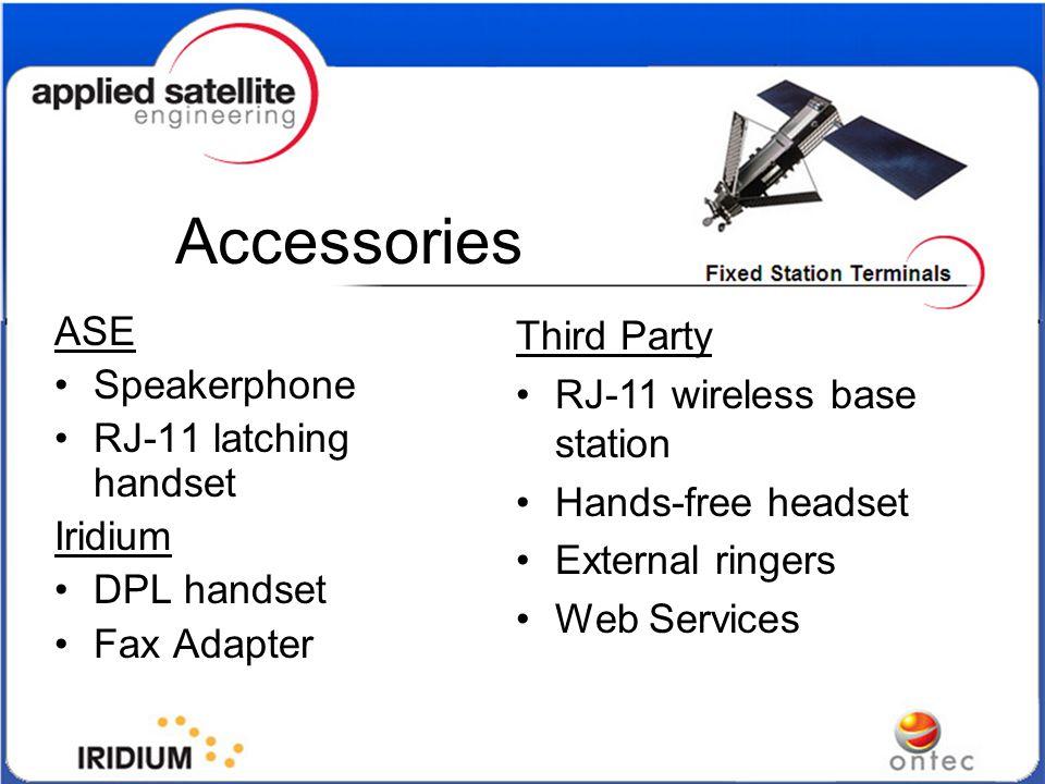 Accessories ASE Speakerphone RJ-11 latching handset Iridium DPL handset Fax Adapter Third Party RJ-11 wireless base station Hands-free headset Externa