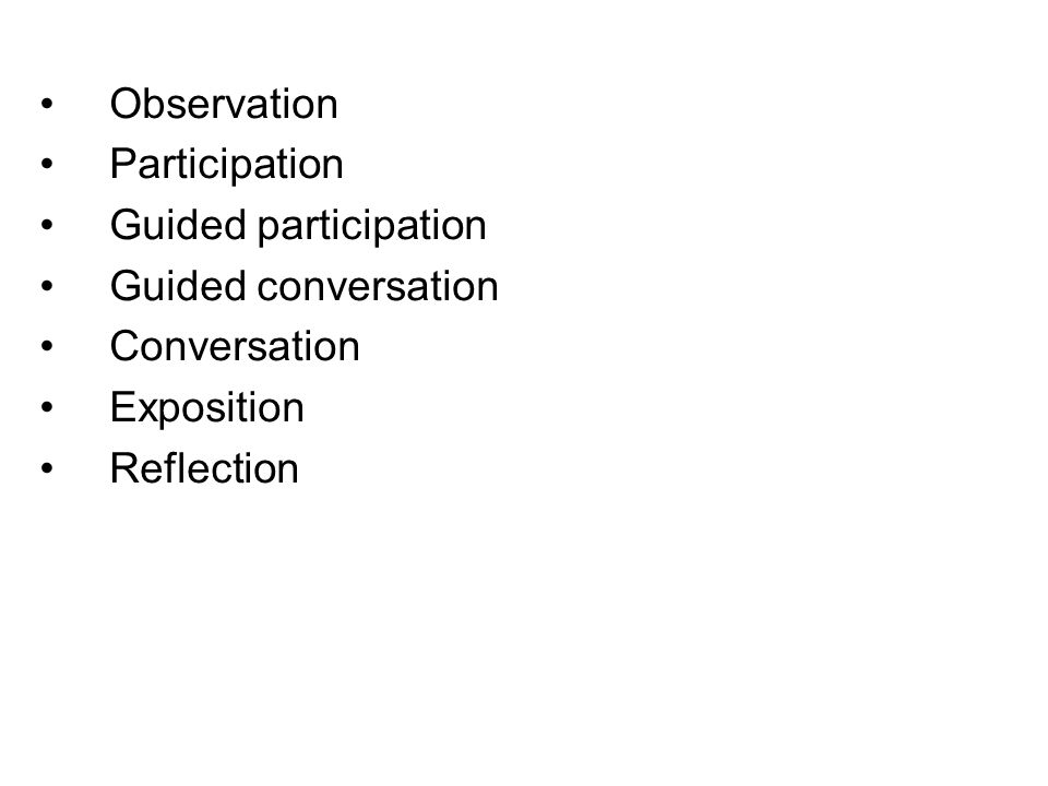 Observation Participation Guided participation Guided conversation Conversation Exposition Reflection language