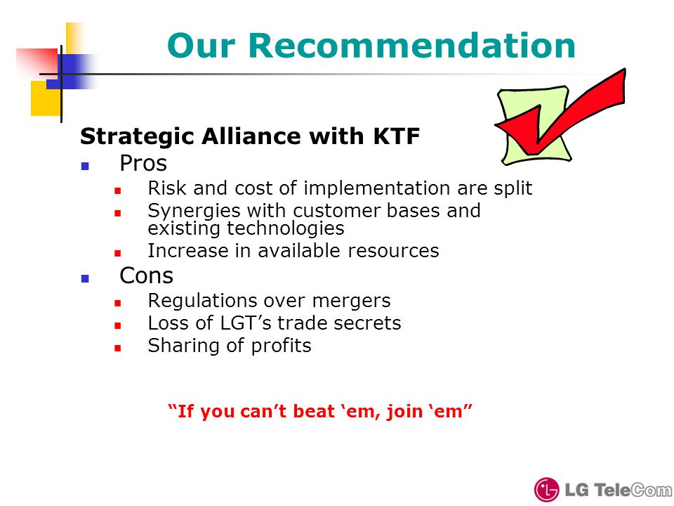 Our Recommendation Strategic Alliance with KTF Pros Risk and cost of implementation are split Synergies with customer bases and existing technologies Increase in available resources Cons Regulations over mergers Loss of LGT's trade secrets Sharing of profits If you can't beat 'em, join 'em