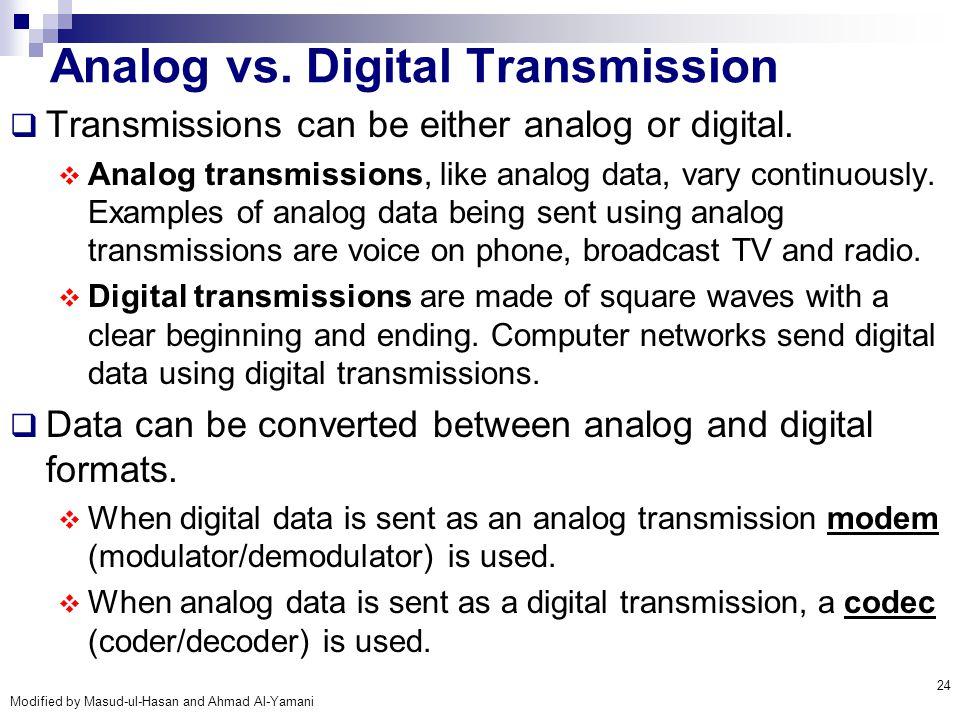 Modified by Masud-ul-Hasan and Ahmad Al-Yamani 24 Analog vs. Digital Transmission  Transmissions can be either analog or digital.  Analog transmissi