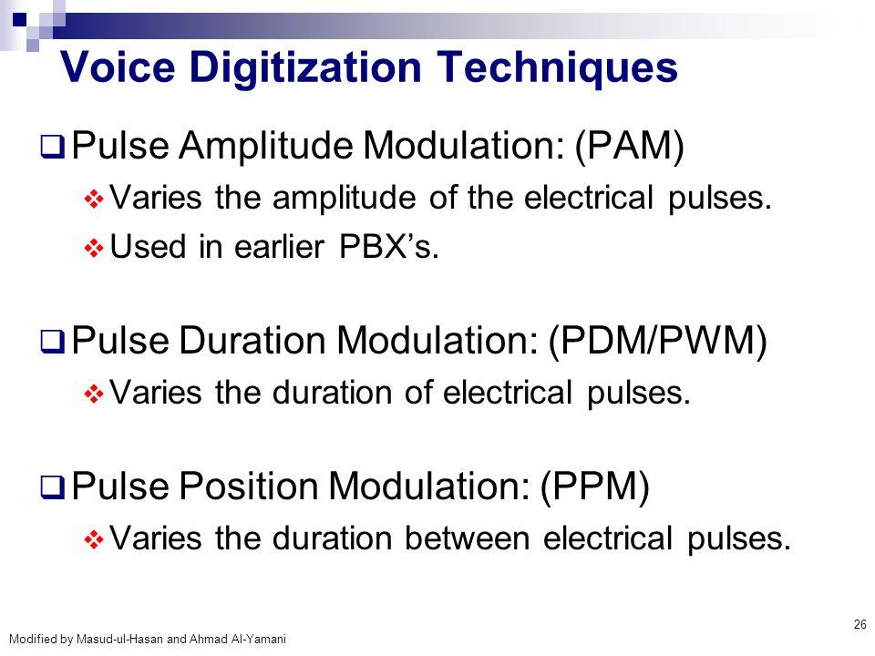 Modified by Masud-ul-Hasan and Ahmad Al-Yamani 26 Voice Digitization Techniques  Pulse Amplitude Modulation: (PAM)  Varies the amplitude of the elec