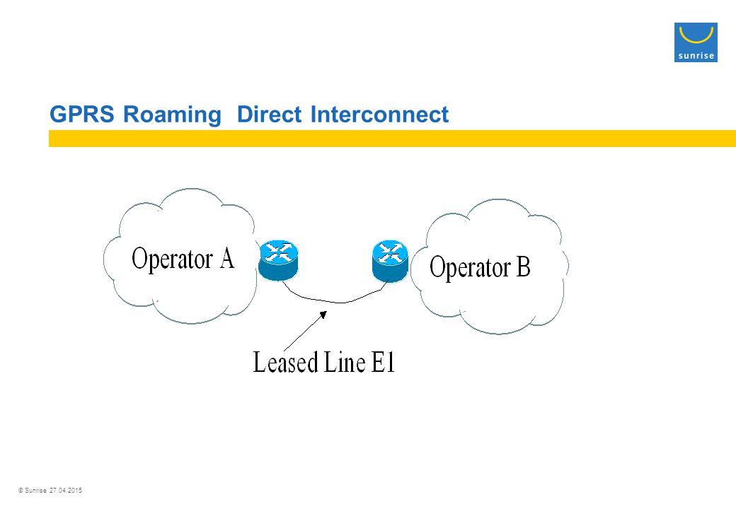 © Sunrise 27.04.2015 GPRS Roaming Direct Interconnect