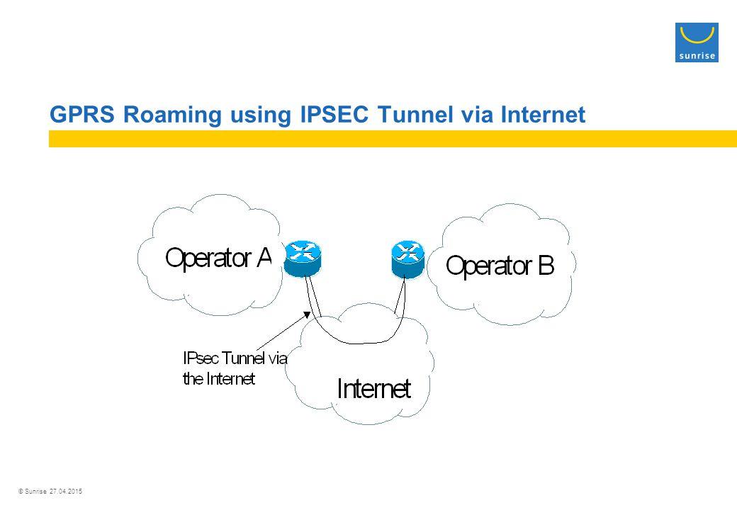 © Sunrise 27.04.2015 GPRS Roaming using IPSEC Tunnel via Internet
