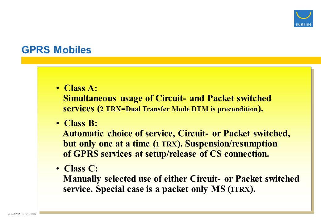 © Sunrise 27.04.2015 GPRS Mobile Station Multislot Classes ClassDownloadUpload Max.