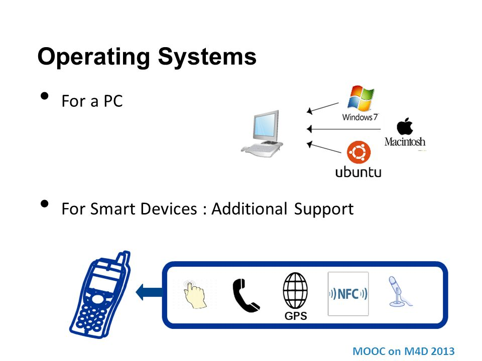 Operating Systems For a PC For Smart Devices : Additional Support MOOC on M4D 2013
