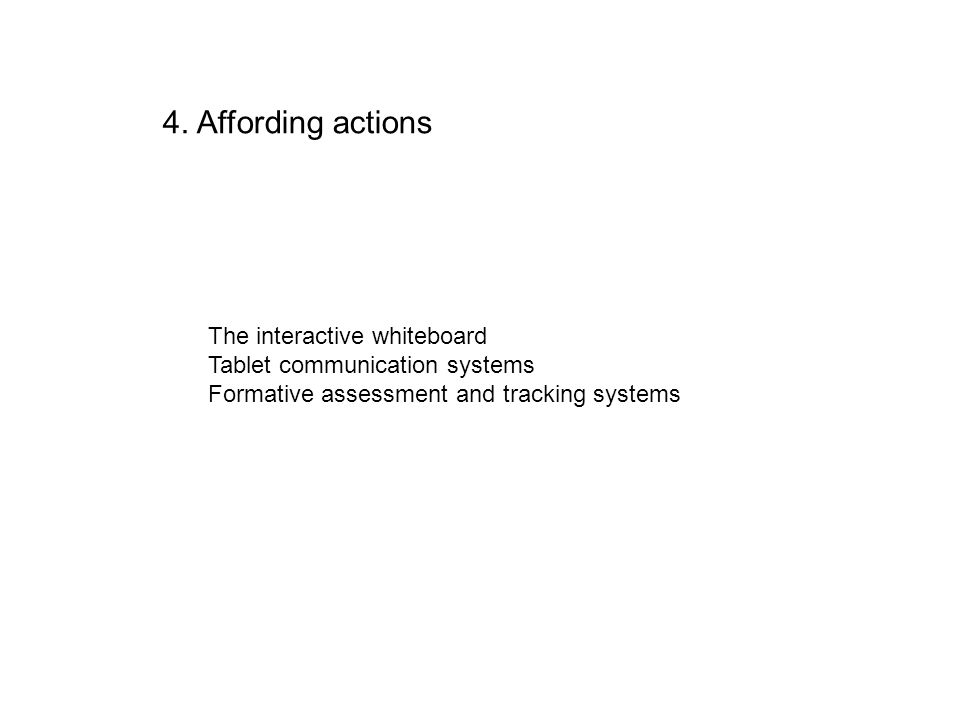 4. Affording actions The interactive whiteboard Tablet communication systems Formative assessment and tracking systems