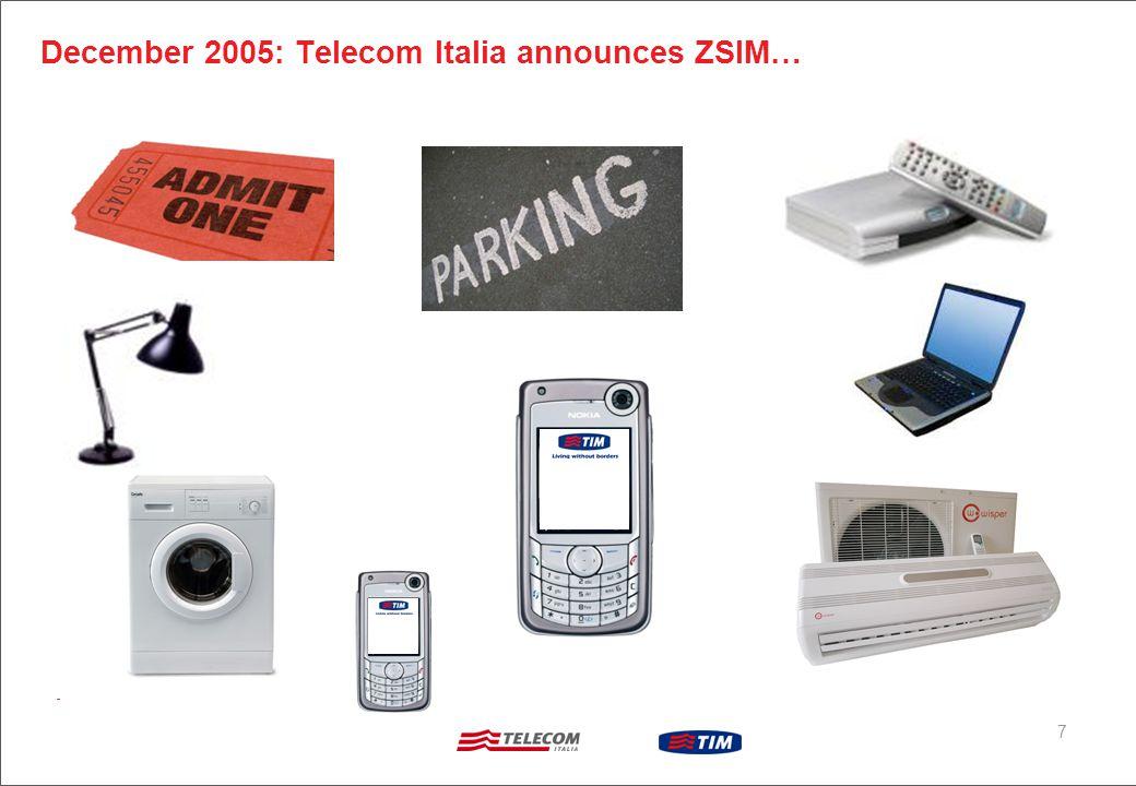 7 December 2005: Telecom Italia announces ZSIM…