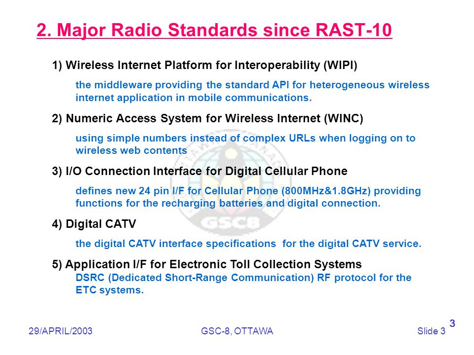 Telecommunications Technology Association 29/APRIL/2003GSC-8, OTTAWASlide 3 2. Major Radio Standards since RAST-10 1) Wireless Internet Platform for I