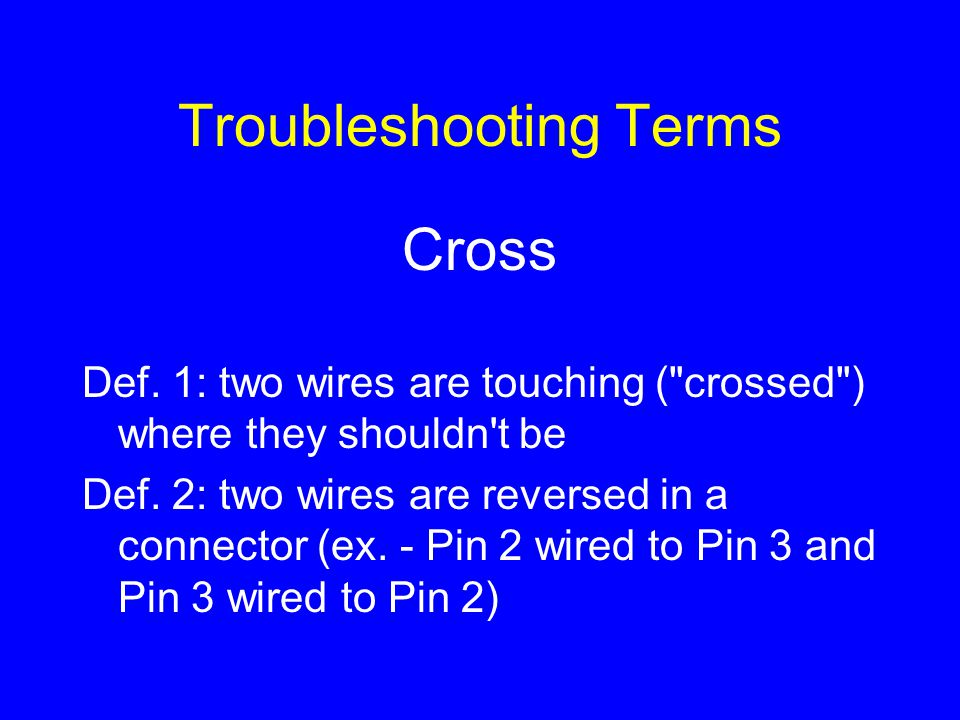 Troubleshooting Terms Cross Def. 1: two wires are touching (