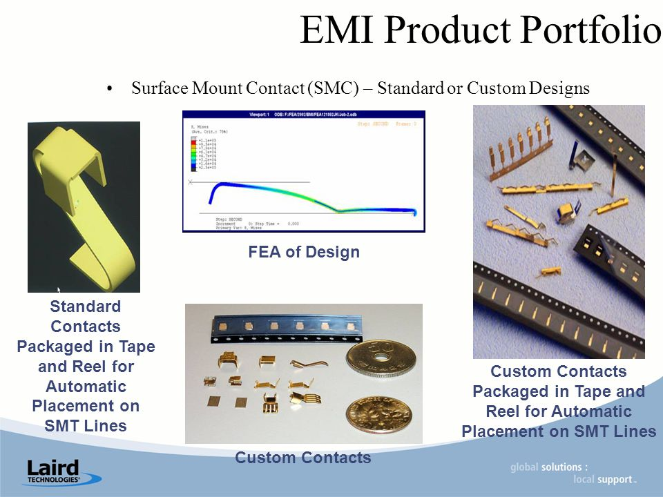 EMI Product Portfolio Surface Mount Contact (SMC) – Standard or Custom Designs Standard Contacts Packaged in Tape and Reel for Automatic Placement on SMT Lines FEA of Design Custom Contacts Packaged in Tape and Reel for Automatic Placement on SMT Lines Custom Contacts