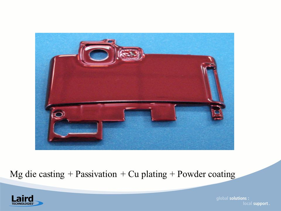 Mg die casting + Passivation + Cu plating + Powder coating