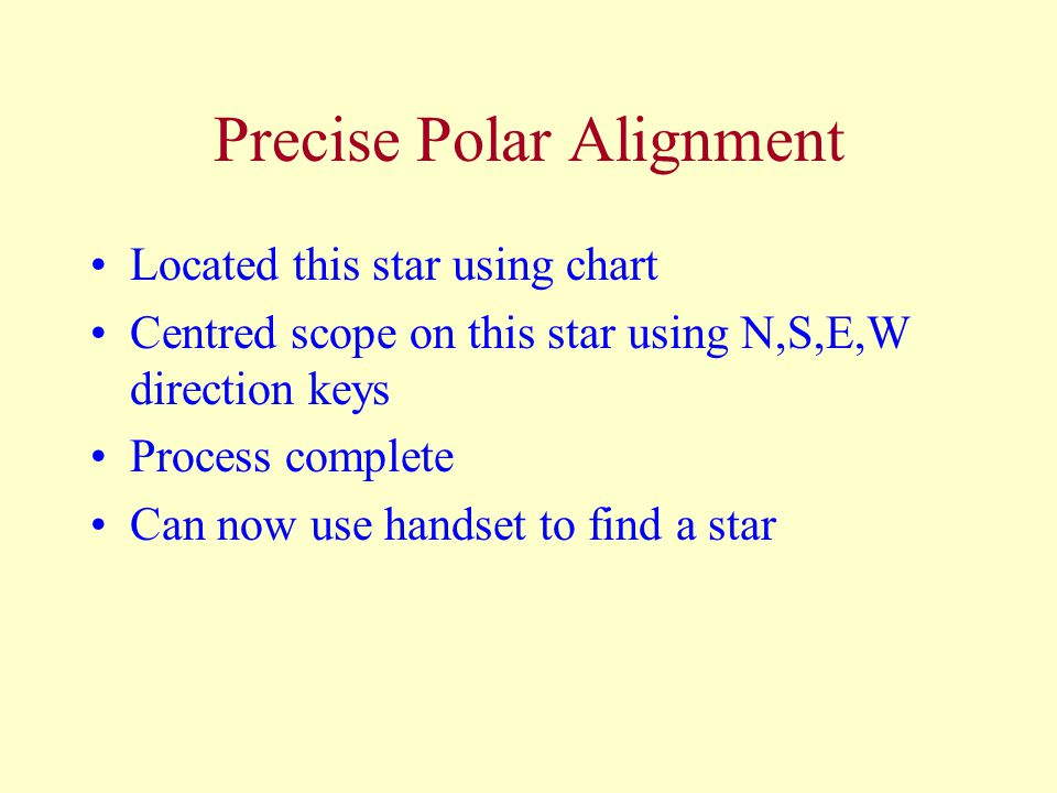 Precise Polar Alignment Located this star using chart Centred scope on this star using N,S,E,W direction keys Process complete Can now use handset to find a star