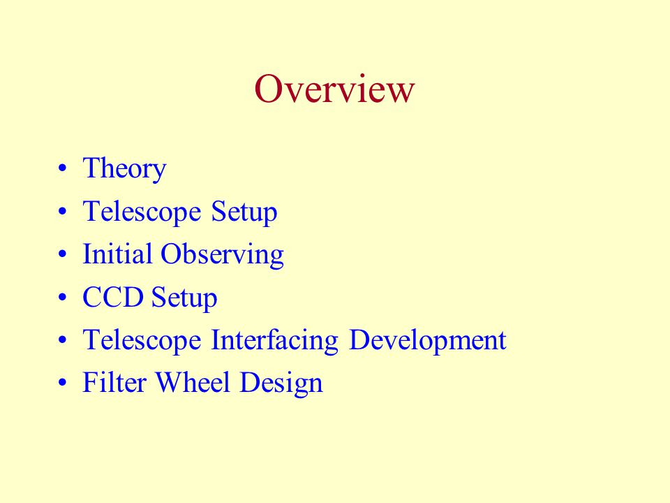 Overview Theory Telescope Setup Initial Observing CCD Setup Telescope Interfacing Development Filter Wheel Design
