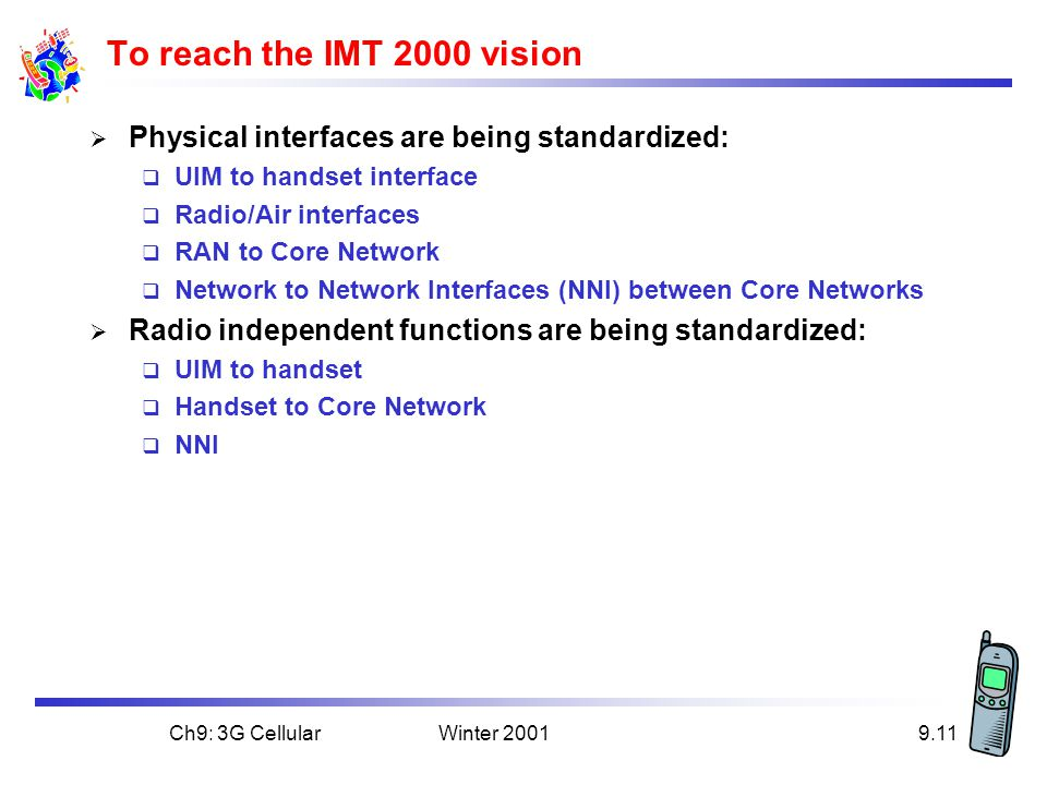 Winter 2001Ch9: 3G Cellular9.11 To reach the IMT 2000 vision  Physical interfaces are being standardized:  UIM to handset interface  Radio/Air interfaces  RAN to Core Network  Network to Network Interfaces (NNI) between Core Networks  Radio independent functions are being standardized:  UIM to handset  Handset to Core Network  NNI