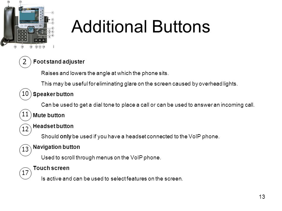 13 Additional Buttons Foot stand adjuster Raises and lowers the angle at which the phone sits.