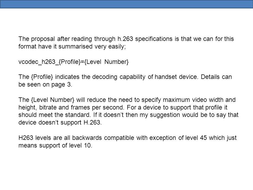H.263 VersionAKA's H.263H.263_1995 H.263v1 H.263v2H.263+ H.263_1998 H.263v3H.263++ H.263_2000 http://www.itu.int/rec/T-REC-H.263-200501-I/en