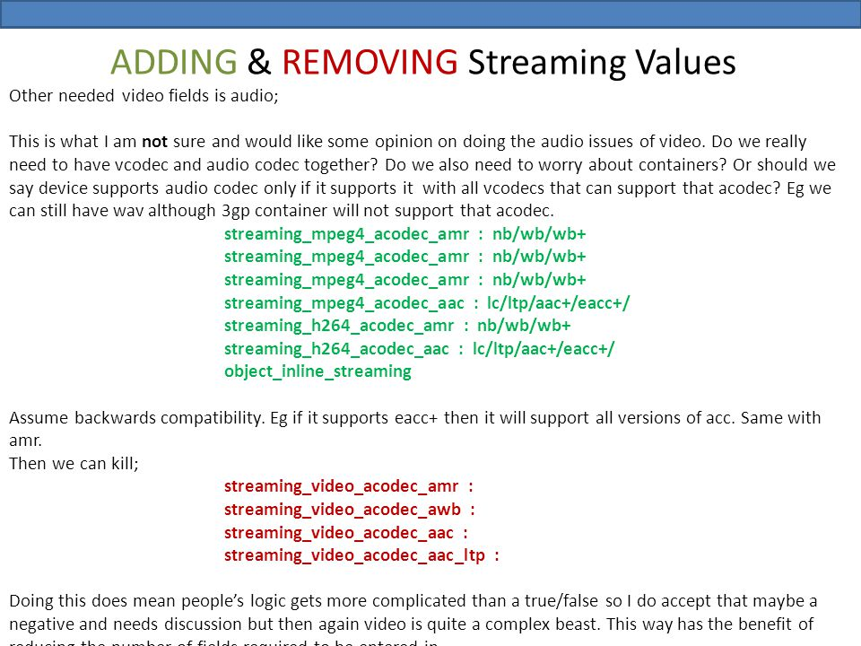 ADDING & REMOVING Streaming Values Other needed video fields is audio; This is what I am not sure and would like some opinion on doing the audio issue
