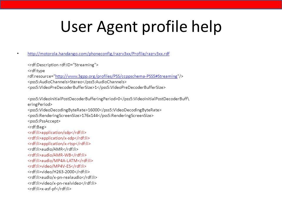 User Agent profile help http://motorola.handango.com/phoneconfig/razrv3xx/Profile/razrv3xx.rdf Stereo 1 0 16000 176x144 application/sdp application/x-