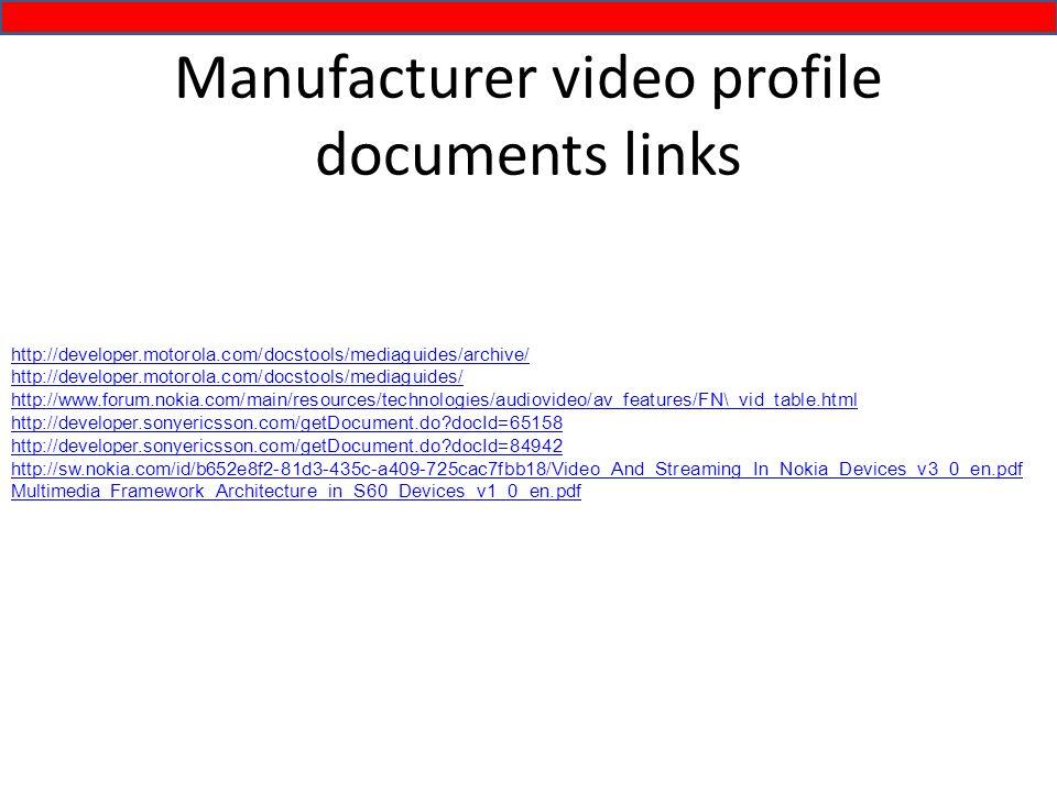 http://developer.motorola.com/docstools/mediaguides/archive/ http://developer.motorola.com/docstools/mediaguides/ http://www.forum.nokia.com/main/resources/technologies/audiovideo/av_features/FN\_vid_table.html http://developer.sonyericsson.com/getDocument.do docId=65158 http://developer.sonyericsson.com/getDocument.do docId=84942 http://sw.nokia.com/id/b652e8f2-81d3-435c-a409-725cac7fbb18/Video_And_Streaming_In_Nokia_Devices_v3_0_en.pdf Multimedia_Framework_Architecture_in_S60_Devices_v1_0_en.pdf Manufacturer video profile documents links