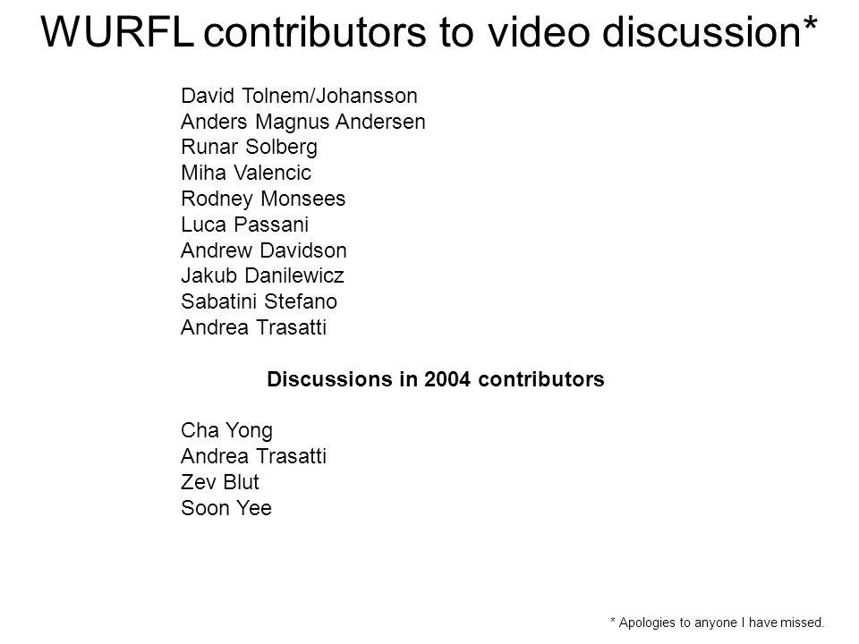 WURFL contributors to video discussion* David Tolnem/Johansson Anders Magnus Andersen Runar Solberg Miha Valencic Rodney Monsees Luca Passani Andrew D