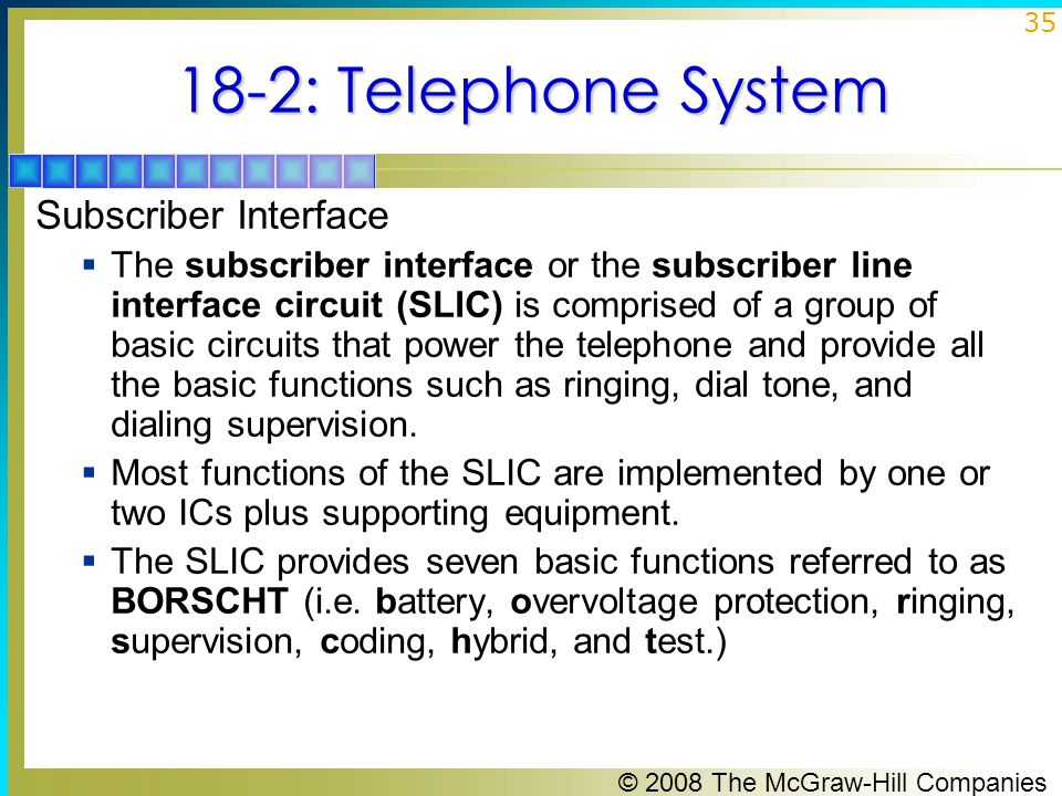 © 2008 The McGraw-Hill Companies 35 18-2: Telephone System Subscriber Interface  The subscriber interface or the subscriber line interface circuit (S