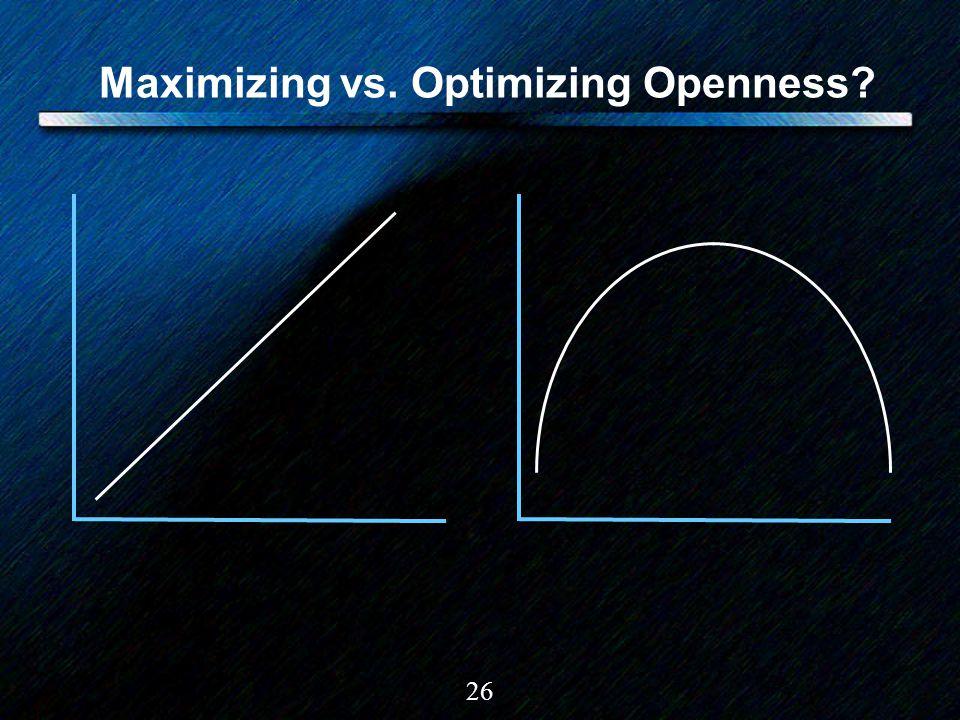 26 Maximizing vs. Optimizing Openness