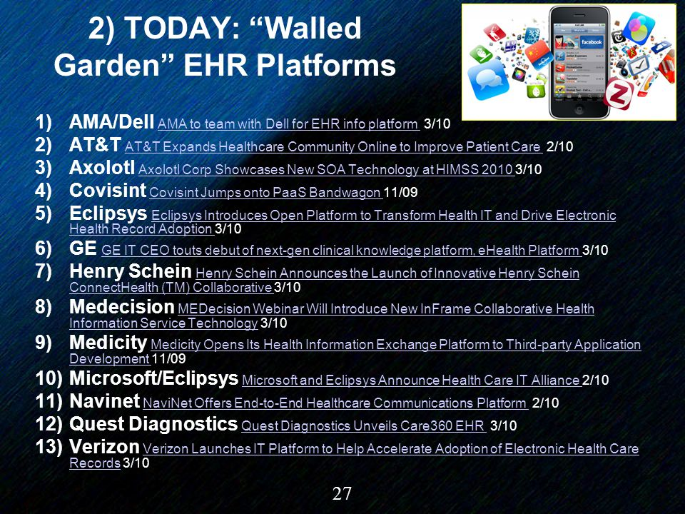 "27 2) TODAY: ""Walled Garden"" EHR Platforms 1)AMA/Dell AMA to team with Dell for EHR info platform 3/10 AMA to team with Dell for EHR info platform 2)A"