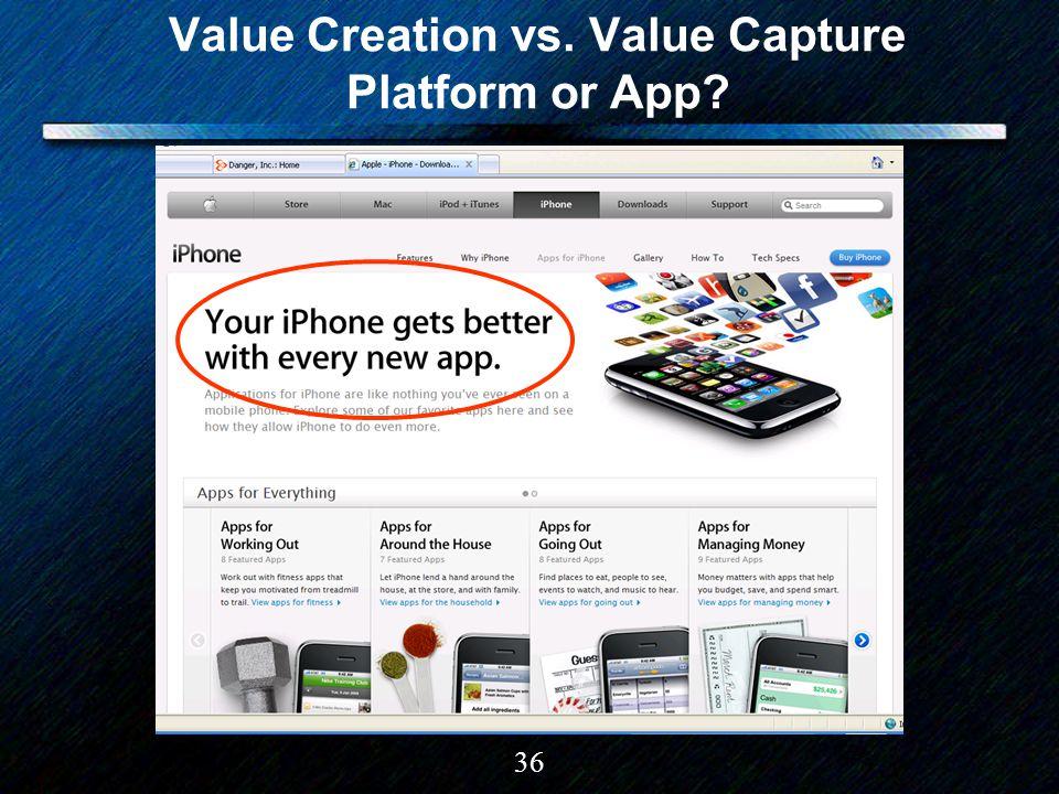 36 Value Creation vs. Value Capture Platform or App