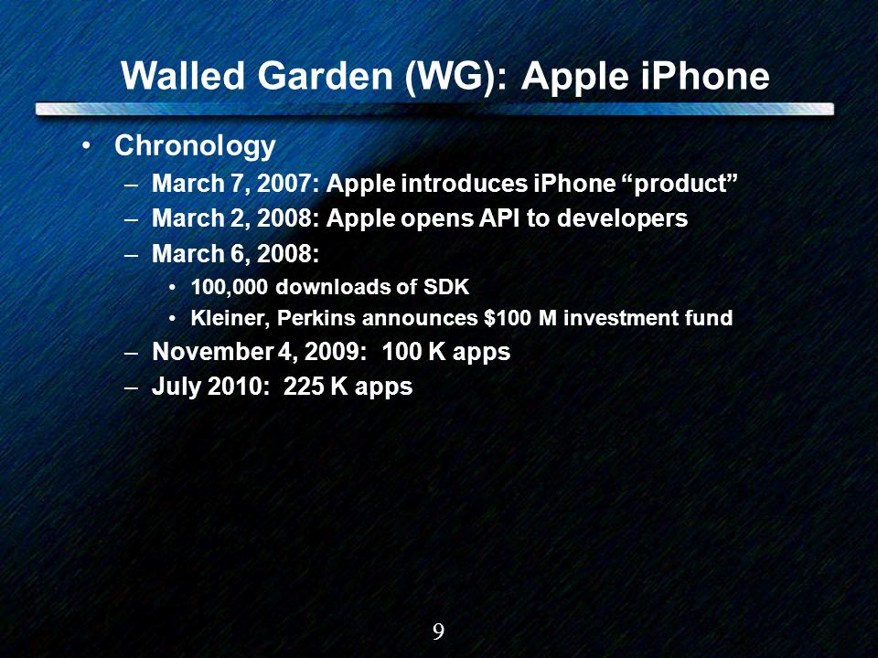 "9 Walled Garden (WG): Apple iPhone Chronology –March 7, 2007: Apple introduces iPhone ""product"" –March 2, 2008: Apple opens API to developers –March 6"