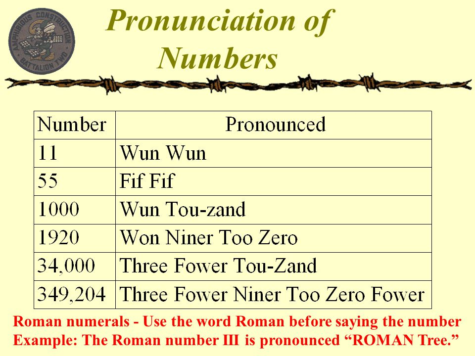 """Roman numerals - Use the word Roman before saying the number Example: The Roman number III is pronounced """"ROMAN Tree."""""""