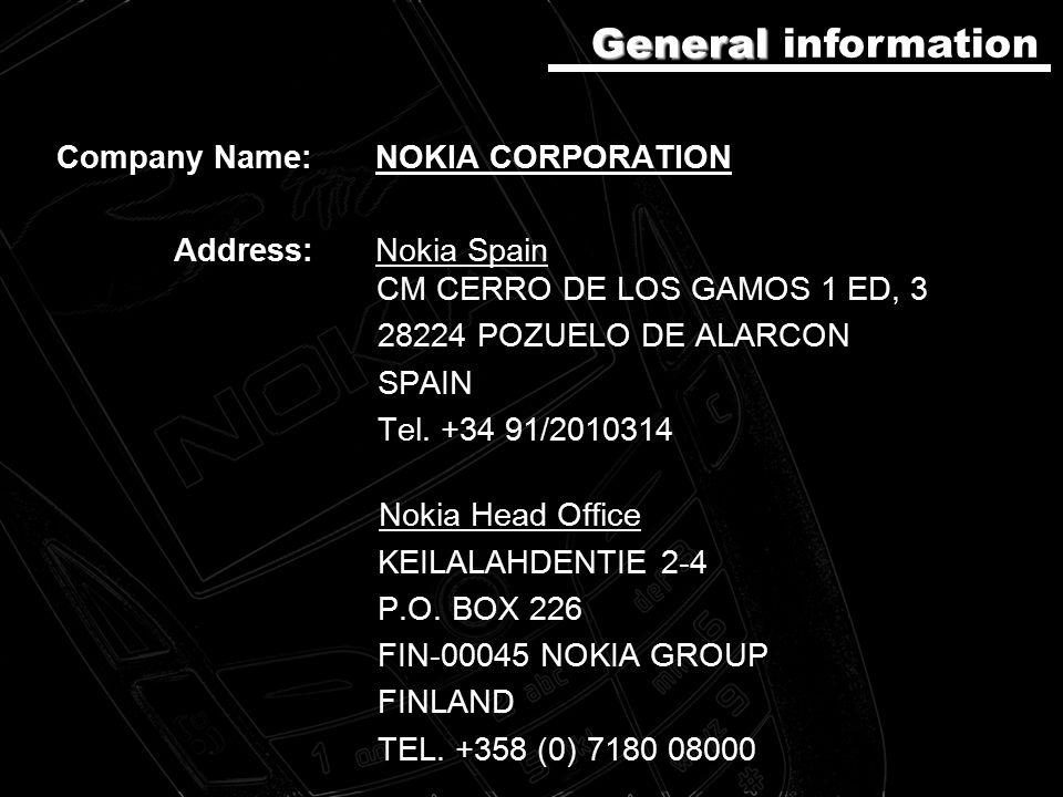 Company Name: NOKIA CORPORATION Address:Nokia Spain CM CERRO DE LOS GAMOS 1 ED, 3 28224 POZUELO DE ALARCON SPAIN Tel.