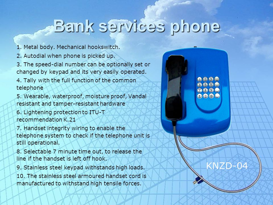 Bank services phone 1. Metal body. Mechanical hookswitch.