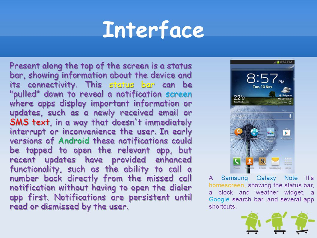 Interface A Samsung Galaxy Note II's homescreen, showing the status bar, a clock and weather widget, a Google search bar, and several app shortcuts. P