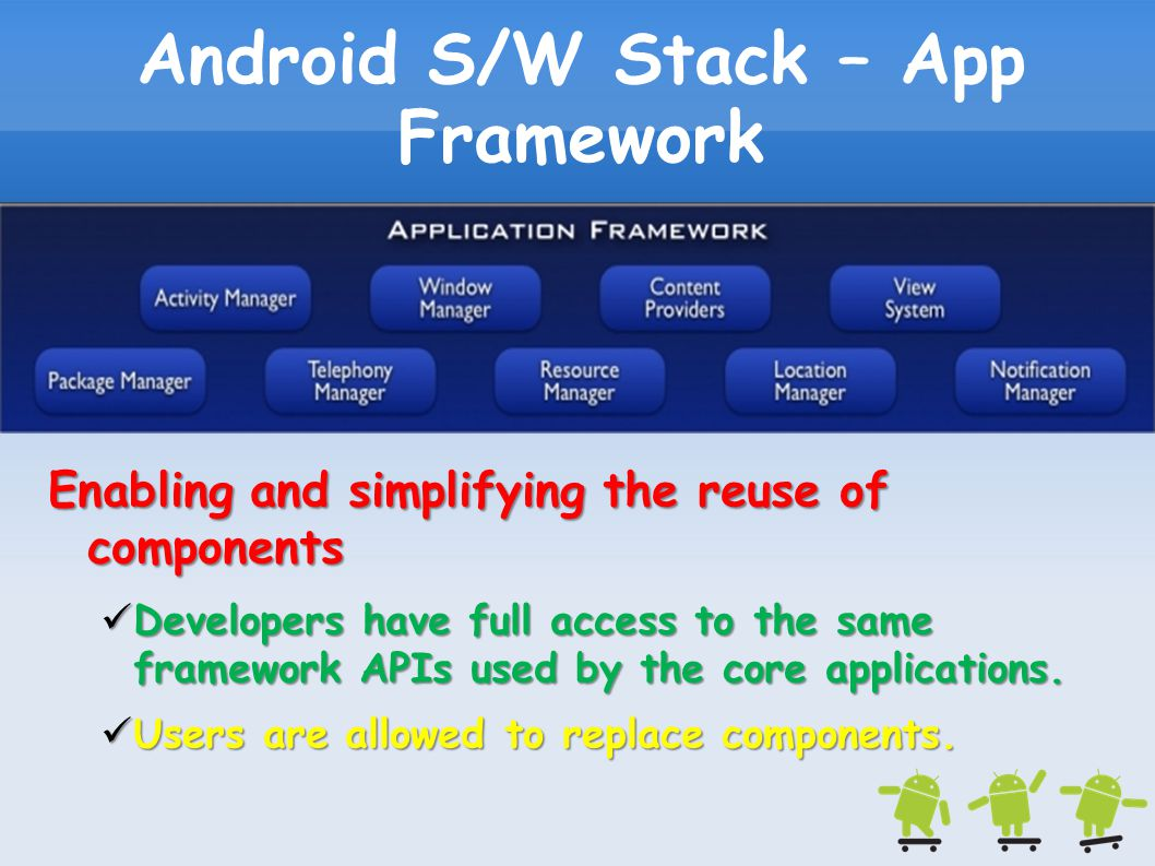 Android S/W Stack – App Framework Enabling and simplifying the reuse of components Developers have full access to the same framework APIs used by the