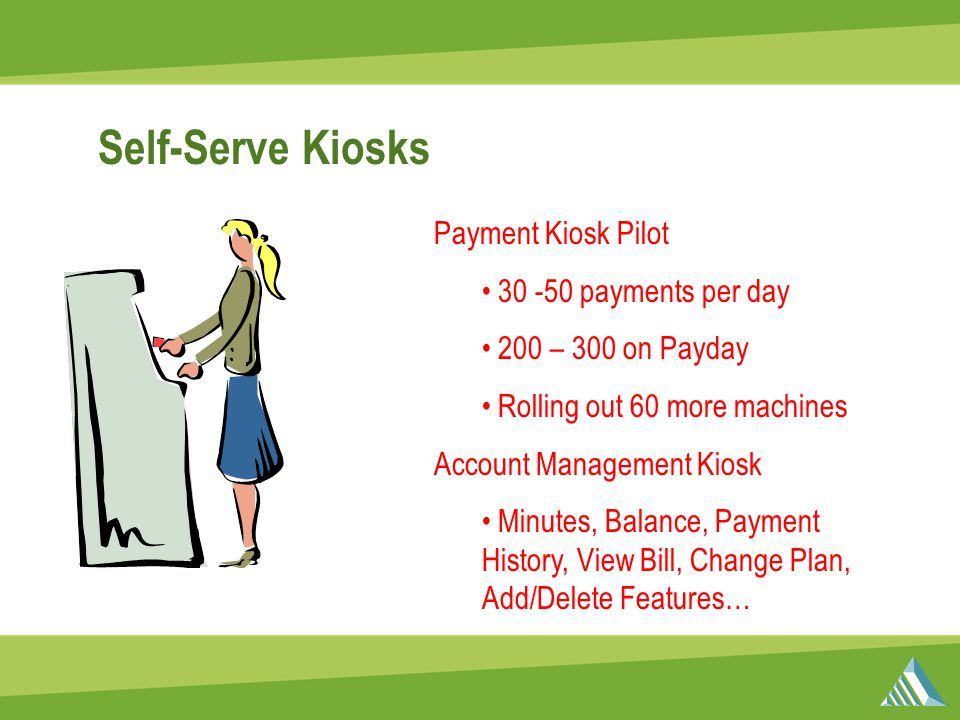 Self-Serve Kiosks Payment Kiosk Pilot 30 -50 payments per day 200 – 300 on Payday Rolling out 60 more machines Account Management Kiosk Minutes, Balance, Payment History, View Bill, Change Plan, Add/Delete Features…