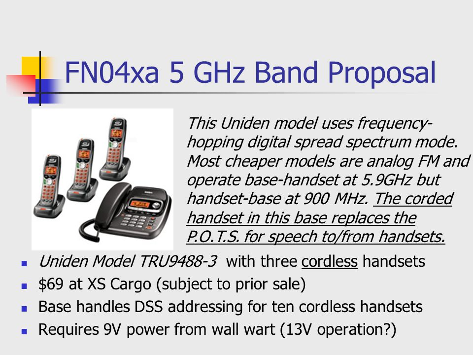 FN04xa 5 GHz Band Proposal Uniden Model TRU9488-3 with three cordless handsets $69 at XS Cargo (subject to prior sale) Base handles DSS addressing for
