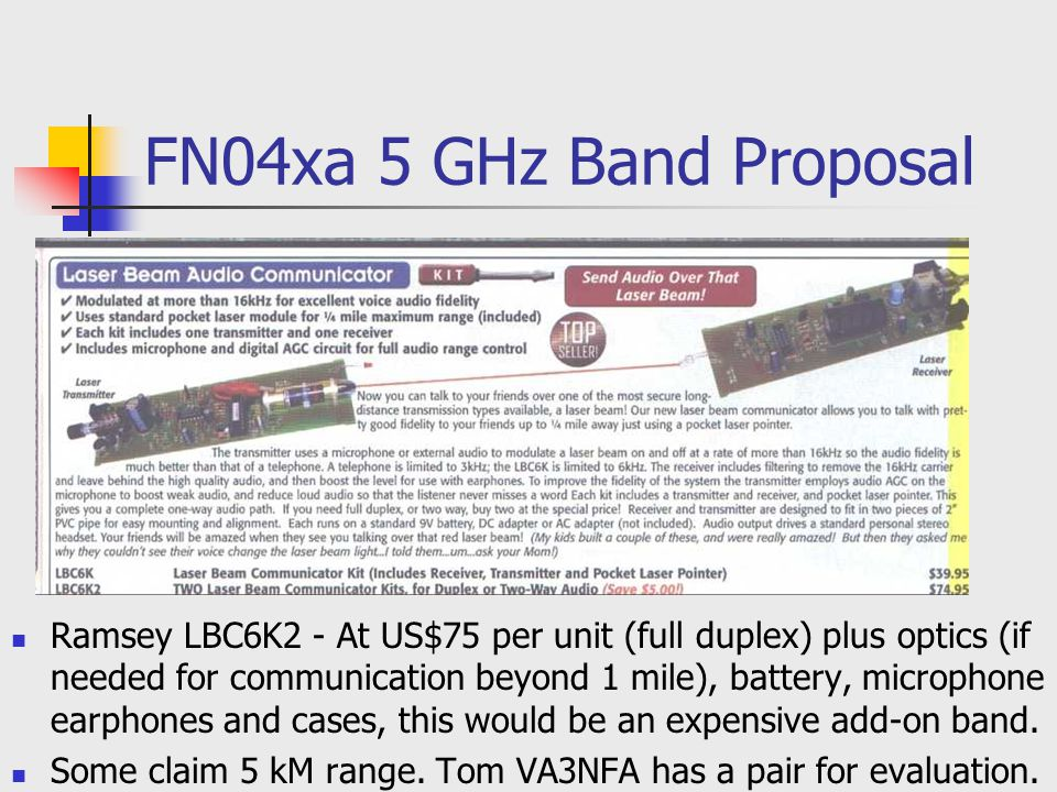 FN04xa 5 GHz Band Proposal Ramsey LBC6K2 - At US$75 per unit (full duplex) plus optics (if needed for communication beyond 1 mile), battery, microphon