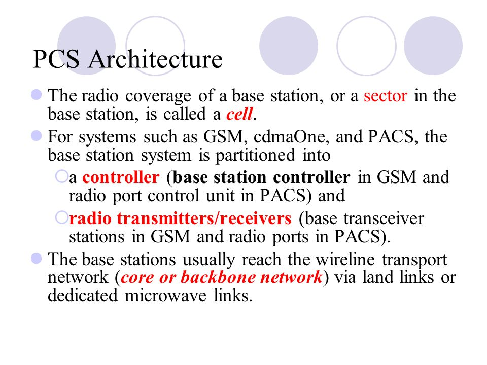 PCS Architecture The radio coverage of a base station, or a sector in the base station, is called a cell.