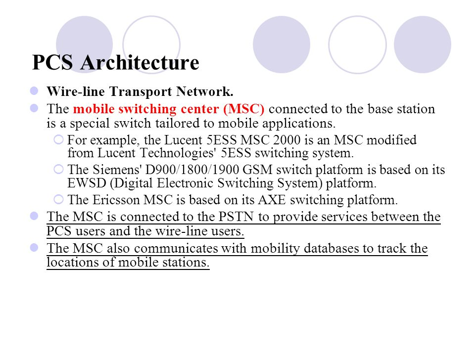 PCS Architecture Wire-line Transport Network.