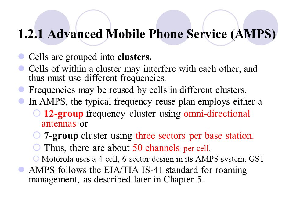 1.2.1 Advanced Mobile Phone Service (AMPS) Cells are grouped into clusters.