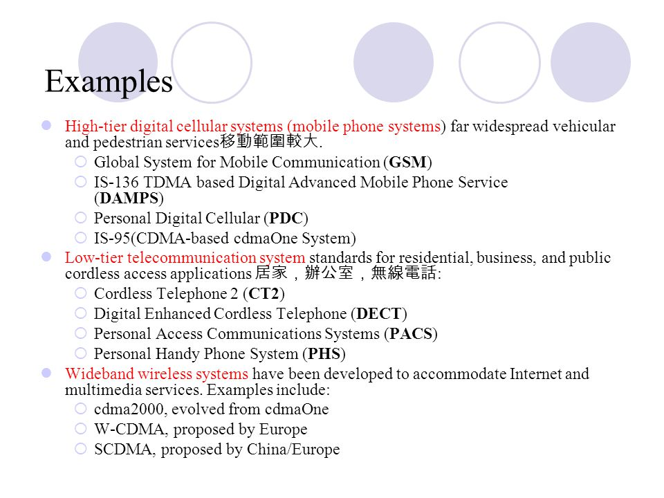 Examples High ‑ tier digital cellular systems (mobile phone systems) far widespread vehicular and pedestrian services 移動範圍較大.