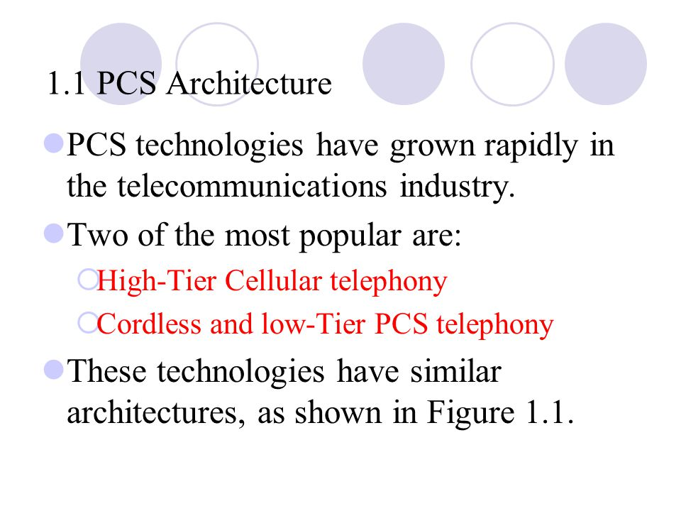 1.1 PCS Architecture PCS technologies have grown rapidly in the telecommunications industry.