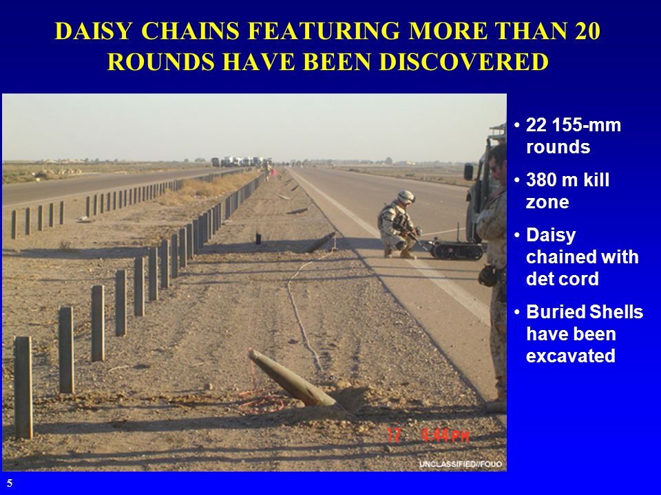 5 DAISY CHAINS FEATURING MORE THAN 20 ROUNDS HAVE BEEN DISCOVERED 22 155-mm rounds 380 m kill zone Daisy chained with det cord Buried Shells have been excavated