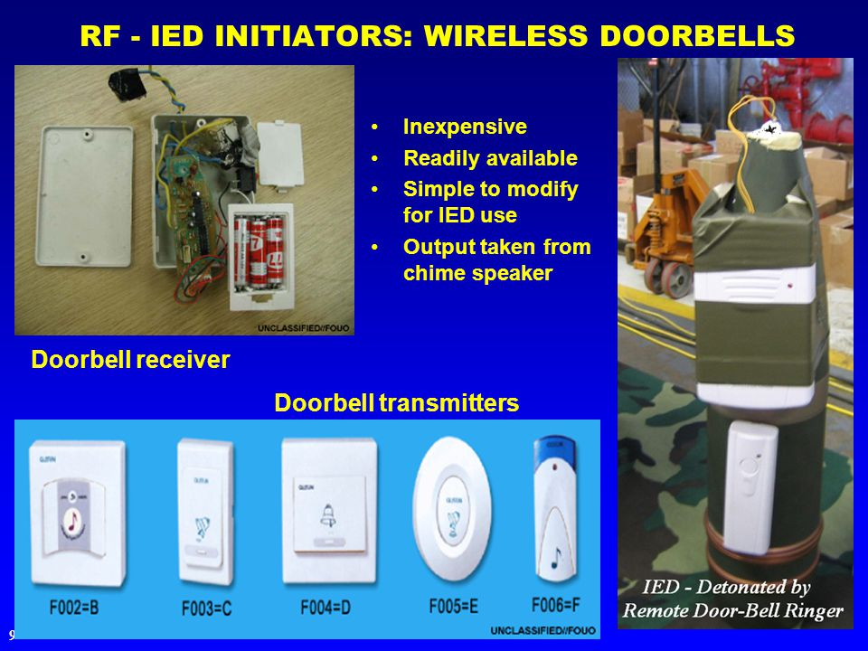 9 RF - IED INITIATORS: WIRELESS DOORBELLS Inexpensive Readily available Simple to modify for IED use Output taken from chime speaker Doorbell receiver Doorbell transmitters