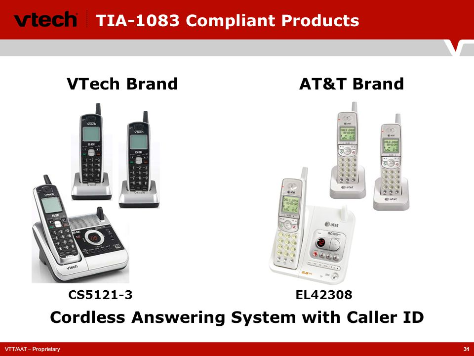 VTT/AAT – Proprietary31 TIA-1083 Compliant Products CS5121-3 VTech BrandAT&T Brand Cordless Answering System with Caller ID EL42308