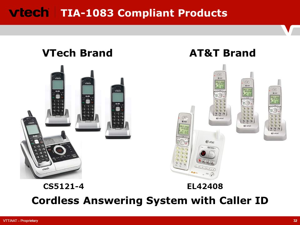 VTT/AAT – Proprietary32 TIA-1083 Compliant Products CS5121-4 VTech BrandAT&T Brand Cordless Answering System with Caller ID EL42408
